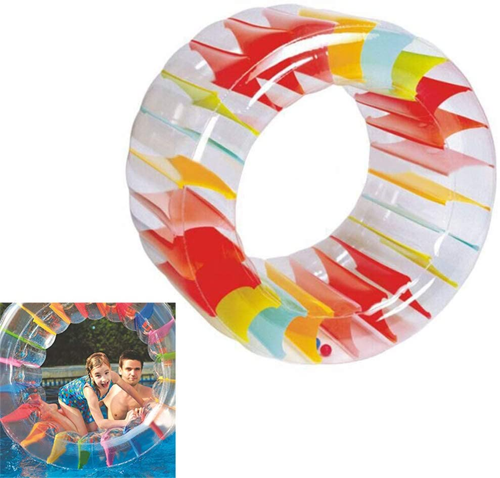 35x24inch Colorful Inflatable Water Wheel Roller Float Giant Roll Ball for Water Play Equipment Swimming Pool Crawling Roller Toy