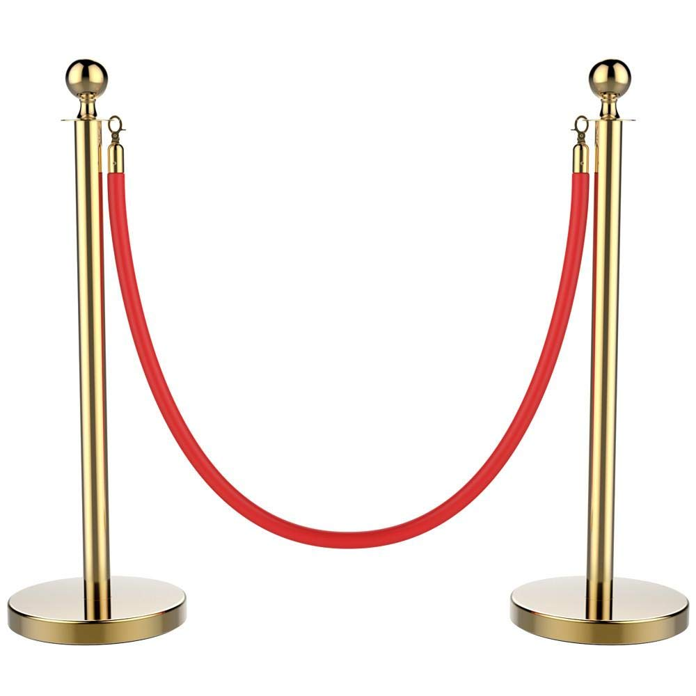 YAHEETECH Stanchions and Velvet Ropes Ball Top Stainless Steel Stanchions Posts with 6.5ft Red Velvet Rope,Crowd Control Stanchions,Gold