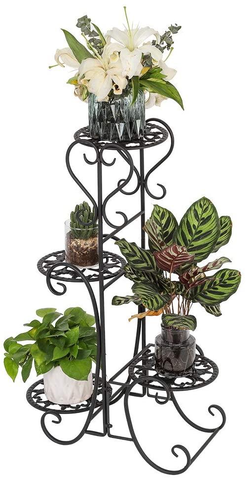 Outdoor Plant Stand Metal Flower Holder Racks with 4 Tier Garden Decoration Plant Stands Indoor for Garden Home Office Black (Round)