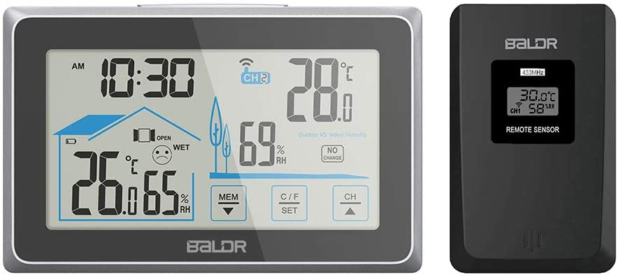 BALDR Wireless Indoor/Outdoor Thermometer & Hygrometer - Touch Screen Digital Weather Station with Room Temperature Monitor & Humidity Gauge Meter, Extended Backlit Display for Easy Viewing