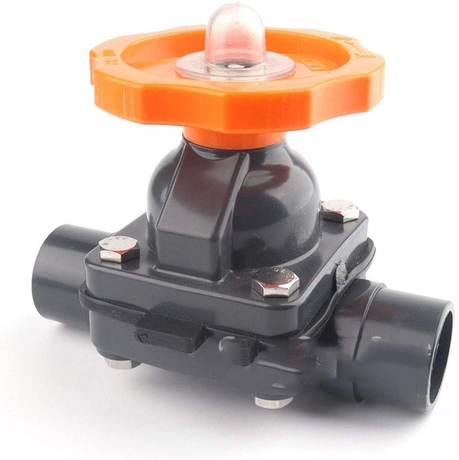 OD 20~110mm UPVC Gate Diaphragm Valve Aquarium Tank Irrigation Adapter Garden Water Connectors Industrial Water Pipe Fittings 1pc Tubing, Pipe (Color : Grey, Diameter : OD 50mm(DN40))