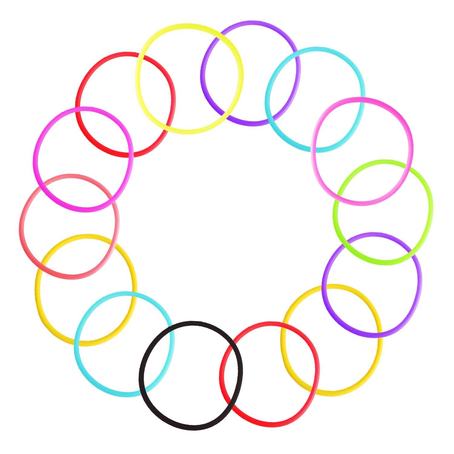 80's Party Rainbow Colorful Bracelets, Retro Rock Pop Star Silicone Jelly Glow Wristbands Luminous Hair Ties Bands for Theme Events Christmas Party Favors, Adults, Women, Kids, Girls Gift (30PCS)