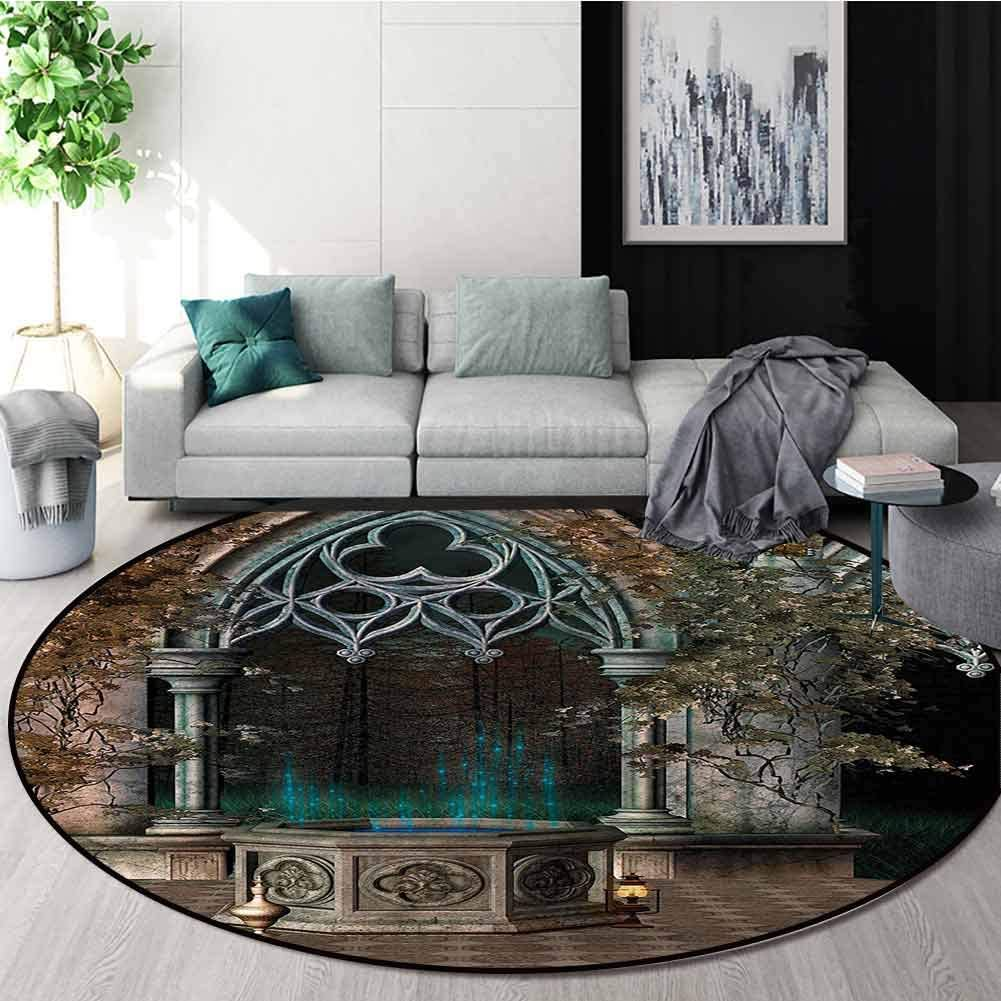 RUGSMAT Gothic Modern Washable Round Bath Mat,Old Gateway to Forest Design Non-Slip Fabric Round Rugs for Living Room Round-47