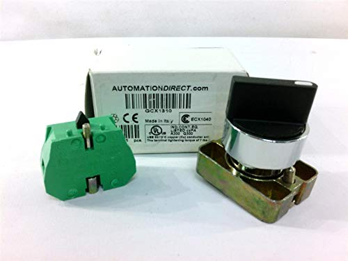 PLC DIRECT GCX1310 22MM, 30MM, 2-Position, Spring Return from Right, Operator: Black, Metal Bezel, SELECTOR Switch, KNOB, Plastic, (1) N.O. Contact(S), Metal Base, Round