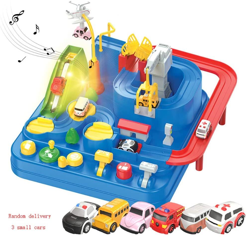 LTJY Transparent Adventure Game Racing Rail Car Model Racing Educational Toy Children Track Car Brain Game Mechanical Toys