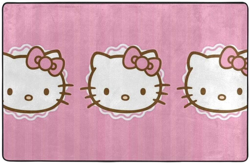 Large Soft Flannel Area Rug Anti- Skid Princess Kitty Carpet Bedroom Kids Room Mat Home Decor- 60 X 39 in