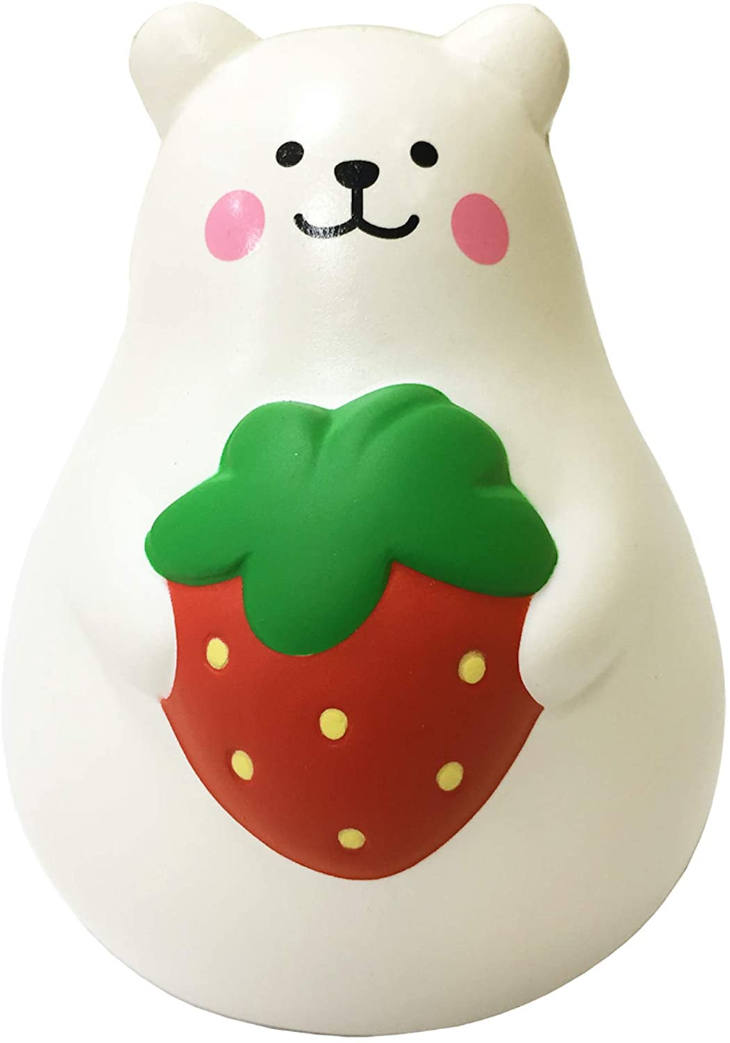 ibloom Marshmallow Bear Mr White Slow Rising Big Squishy Toy (Red Strawberry, 5.6 Inch) for Party Favors, Stress Balls, Birthday Gift Boxes