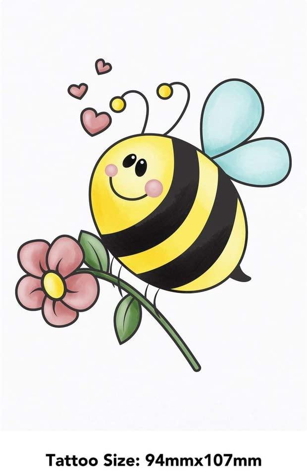 Azeeda 'Bee Flying with Flower' Temporary Tattoo (TO00028200)
