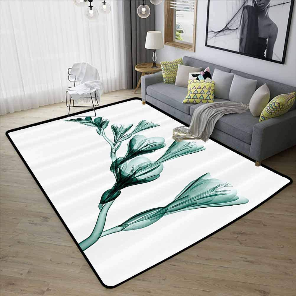 Xray Flower Decor Collection Home Decor Carpet, Safety and Environmental Protection Anti-Fatigue for Standing Comfort for Kids Nursery, W19 x L31 Teal White