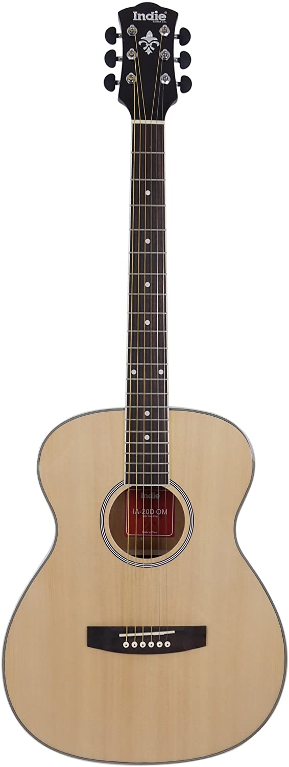 Indie Guitar 6 String Small Body Acoustic Guitar Package, Natural Gloss (IA20OM-NT)