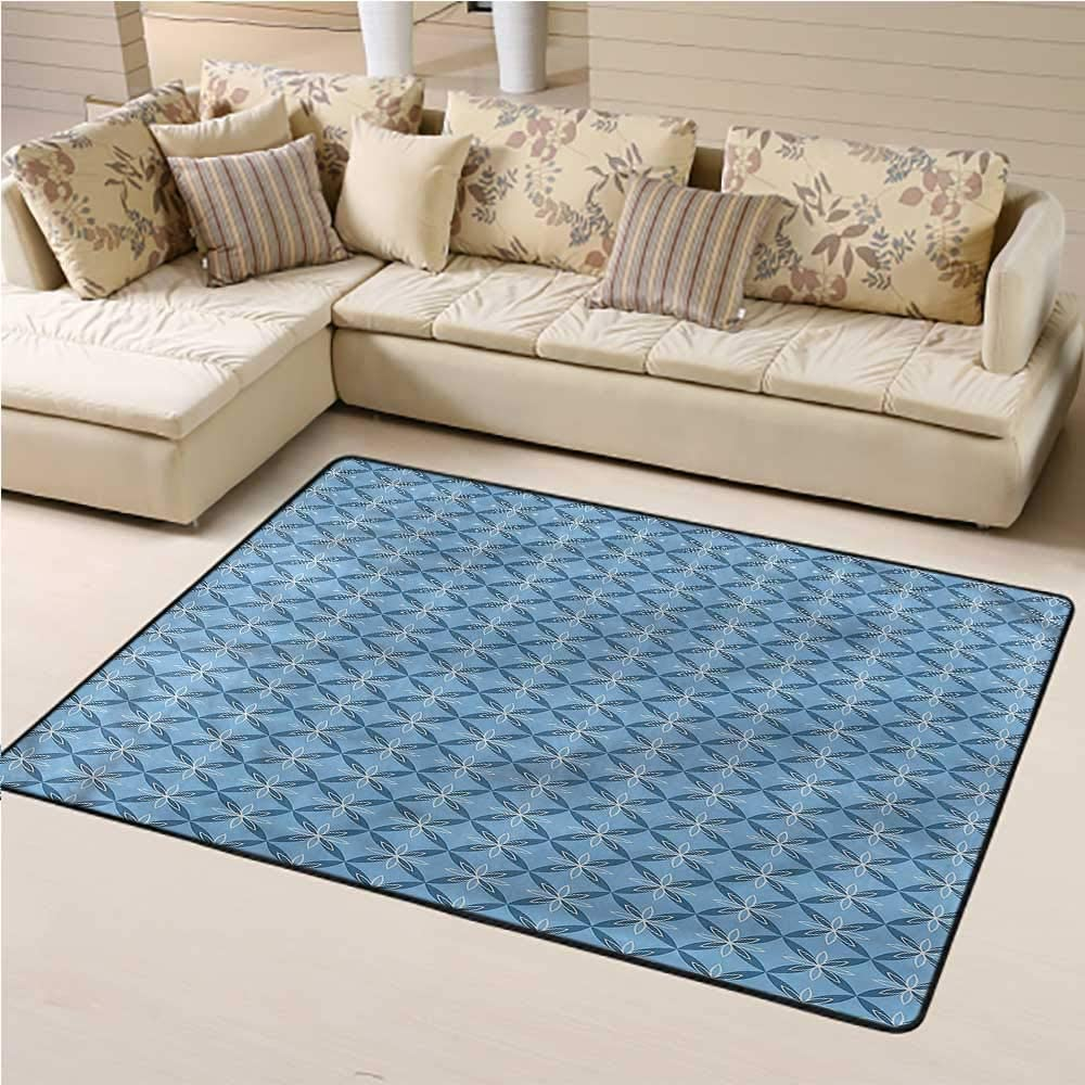Large Carpet Mat Pale Blue Children Play Mat Japanese Nature Wildlife Great for Play, Learn and Have Fun Safely (5x8)