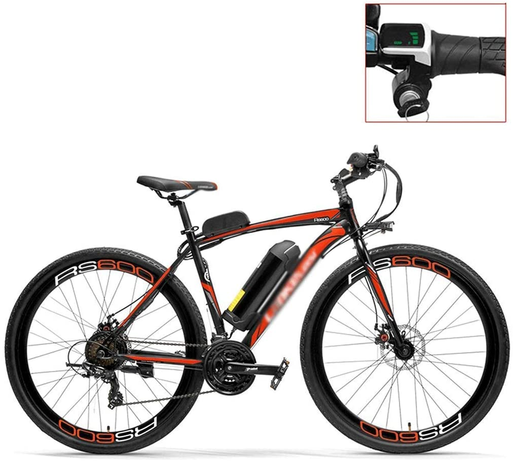 qx Scooter 700C Pedal Assist Electric Bike,36V 20Ah Battery,300W Motor, High Carbon Steel Airfoil-Shaped Frame,Both Disc Brake, Endurance up to 70Km,20-35Km/H, Road Bicycle,Red-Led