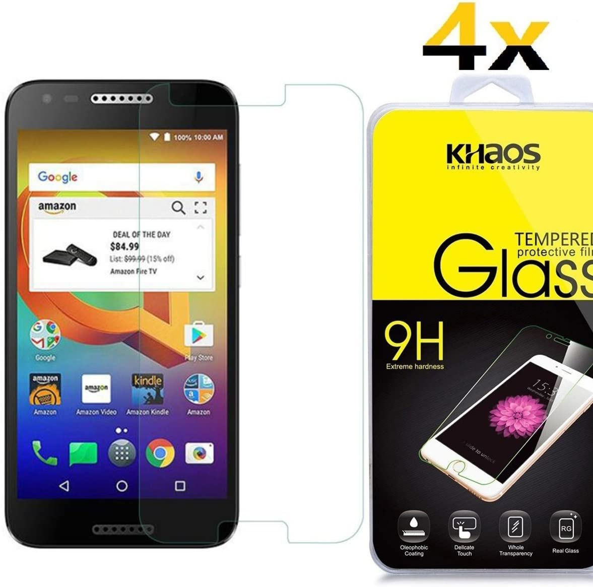 [4 Pack] Khaos for Alcatel Walters HD Clear Tempered Glass Screen Protector, with Lifetime Replacement Warranty