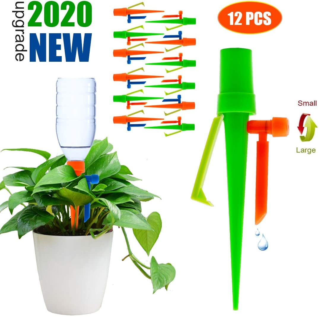 【2020 NEW】 Plant Self Watering Spikes System Non-stop Water, Automatic Irrigation Plant Waterer with Slow Release Control Valve Switch, Adjustable Water Volume Drip System for Outdoor Indoor Plants
