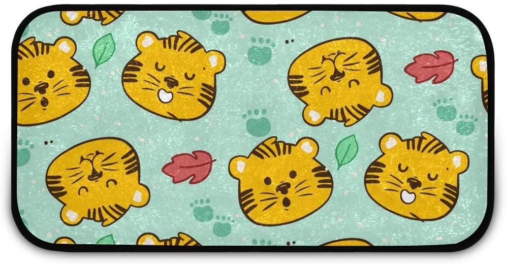 Rectangle Shaggy Rug Kitchen Carpets and Rugs for Kids Cute Tiger Cartoon Farmhous Anti-Slip Rug Rectangle Carpet Play Mat