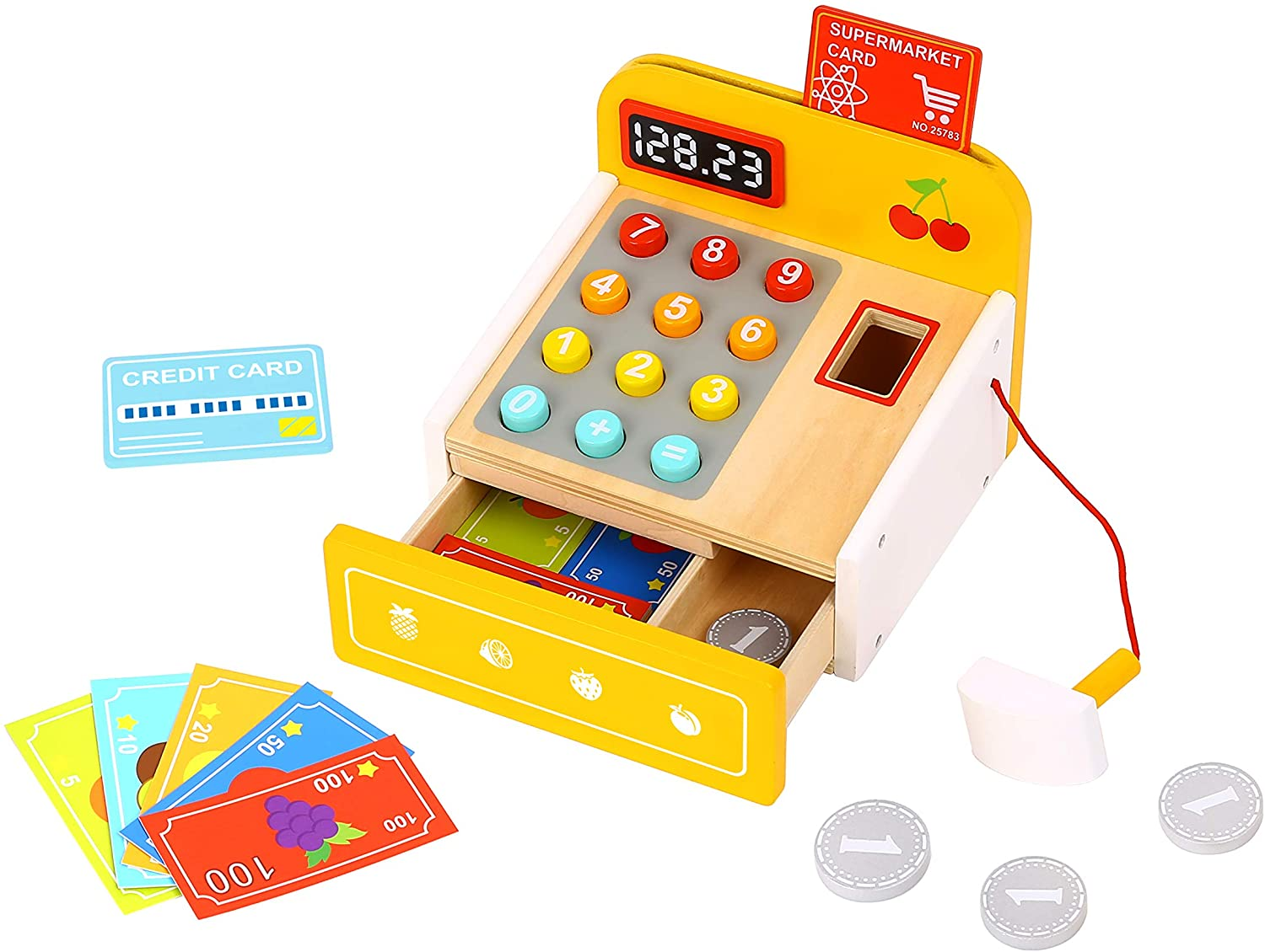 Wooden Cash Register Toy with Wooden Coins, Bills, Credit Cards & Bar Code Scanner, Kids Educational Toy Cashier…
