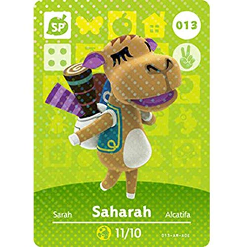 BestTom No.013 Saharah ACNH Animal Villager Card Fan Made.Third Party NFC Card Bank Card Size Water Resistant for Switch/Switch Lite/Wii U