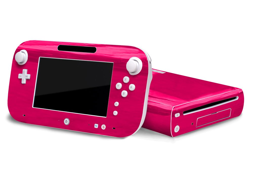 Pink Chrome Mirror Vinyl Decal Faceplate Mod Skin Kit for Nintendo Wii U Console by System Skins