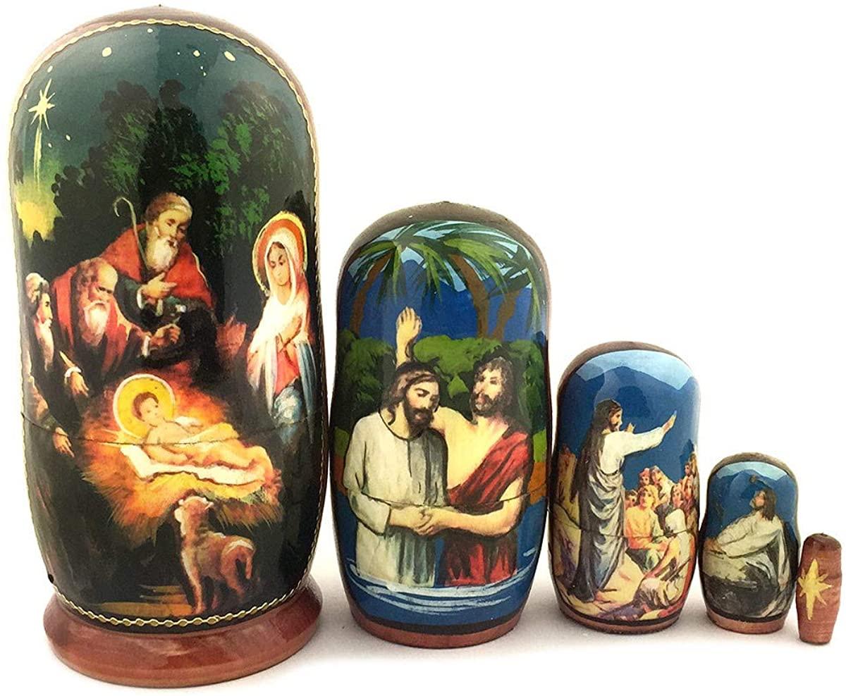 Catholic & Religious Nativity Doll Hand Painted 5 Nested 4 1/4 Inch