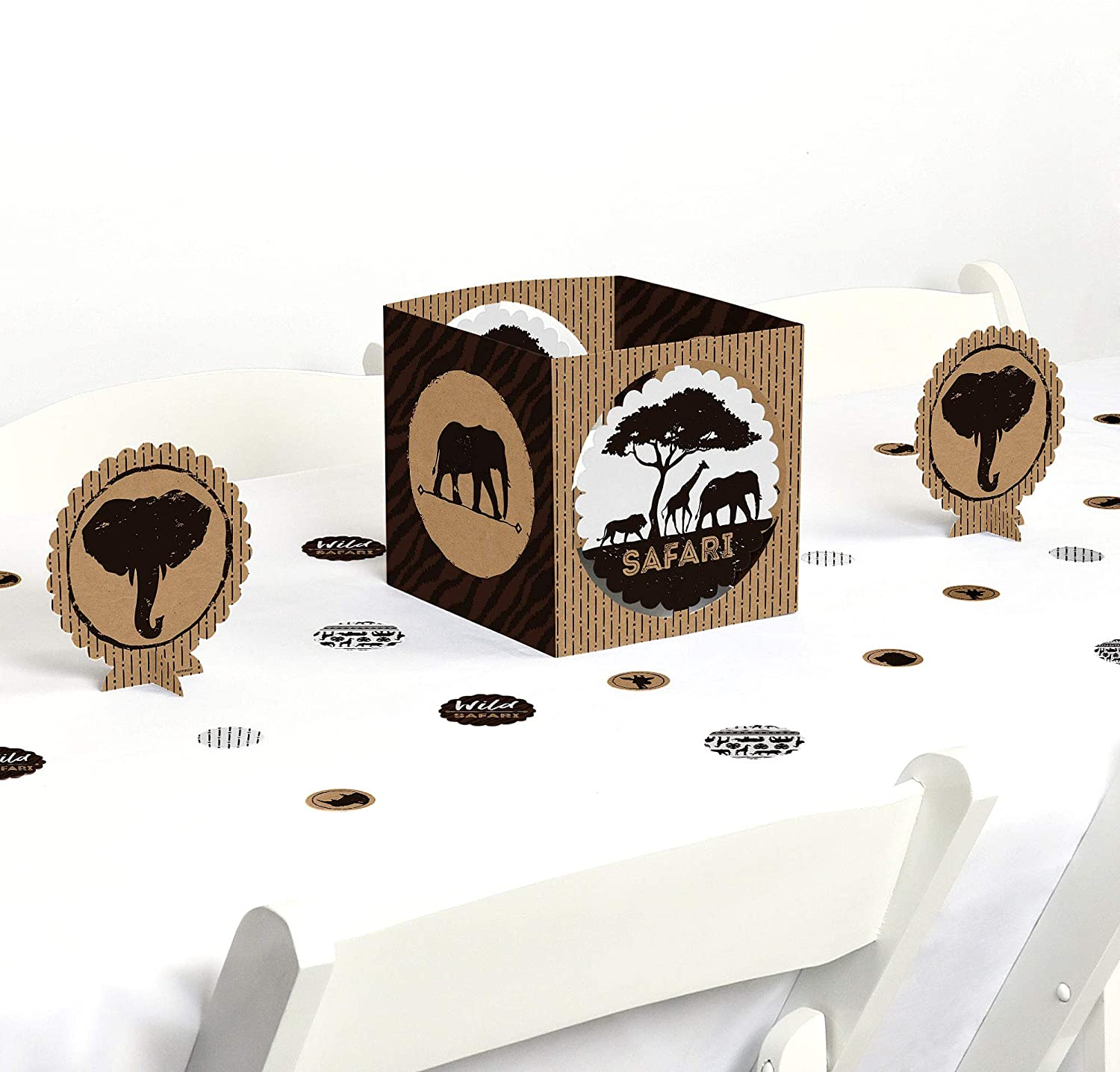 Big Dot of Happiness Wild Safari - African Jungle Adventure Birthday Party or Baby Shower Centerpiece & Table Decoration Kit