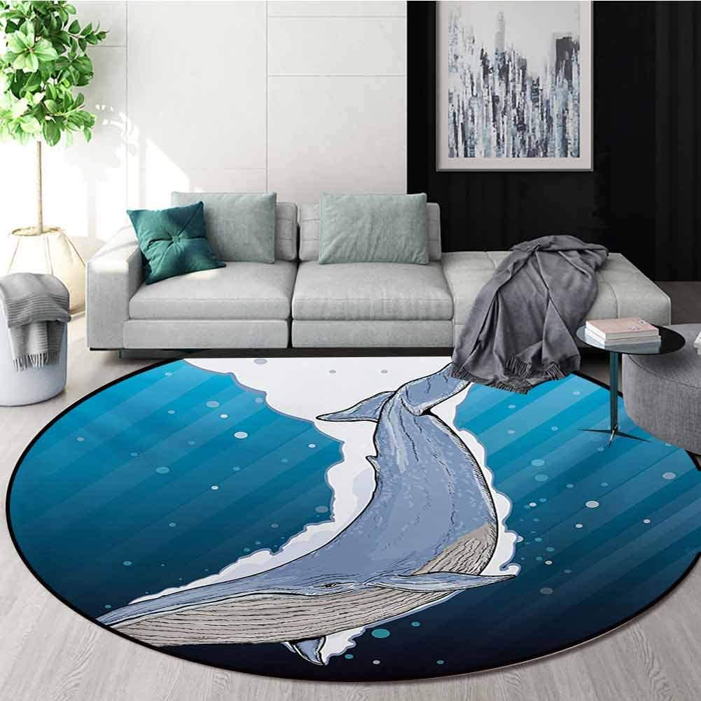 RUGSMAT Whale Non-Slip Area Rug Pad Round,Cartoon Whale Swimming Under Ocean with Fish Shells Near Palm Island Environment Protect Floors While Securing Rug Making Vacuuming,Round-24 Inch