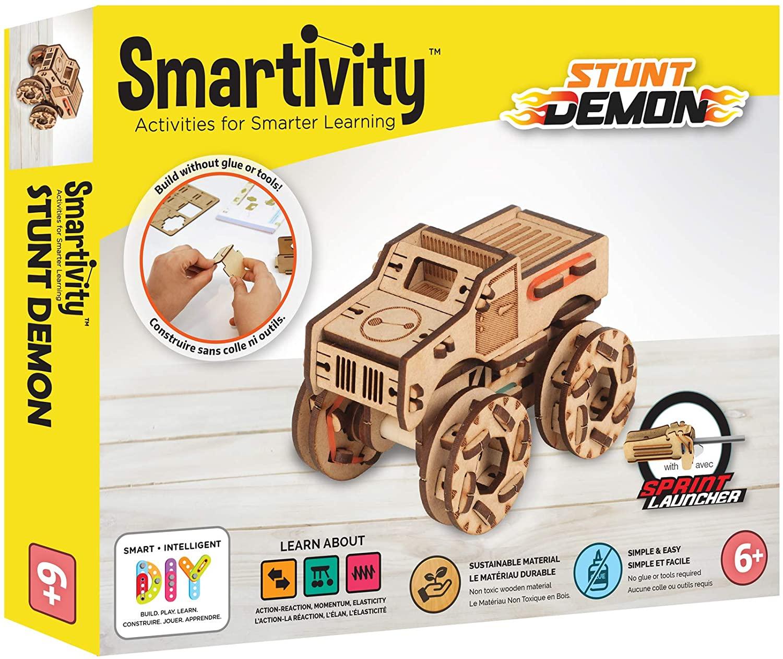 Smartivity Stunt Demon STEM 3D Wooden Model Truck for Kids Ages 6 and Up