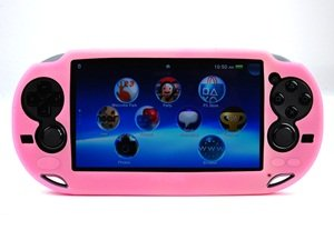 Case Star ® Hard Case/Cover plus 1 PCS of LCD Screen Protector for Playstation PS VITA (PCH-1000) (Silicone-Pink+ Clear LCD Screen Protector)
