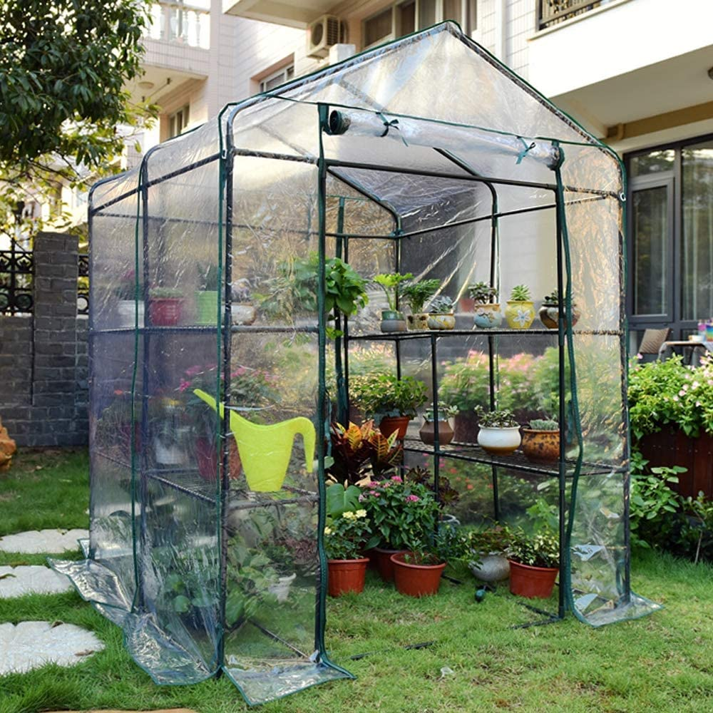 HTWY Deluxe Walk-in Plant Greenhouse, Garden Green House with8 Shelves, for Outdoors Patio Terrace Backyard, 143143195cm