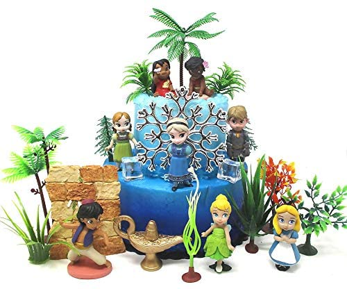 Kids Magical Princess Themed Birthday Cake Topper Set Featuring Lilo, Moana, Elsa, Aladdin, Tinker Bell, Alice and Themed Accessories