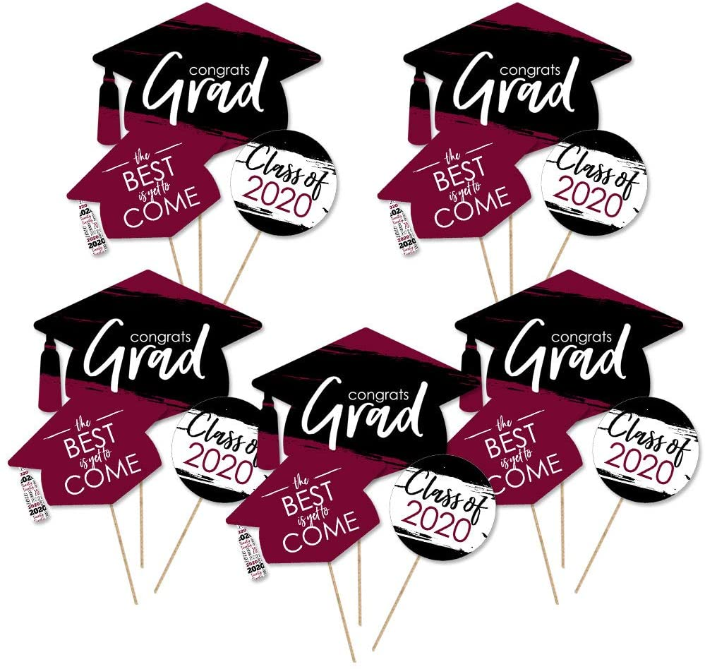 Big Dot of Happiness Maroon Grad - Best is Yet to Come - 2020 Burgundy Graduation Party Centerpiece Sticks - Table Toppers - Set of 15