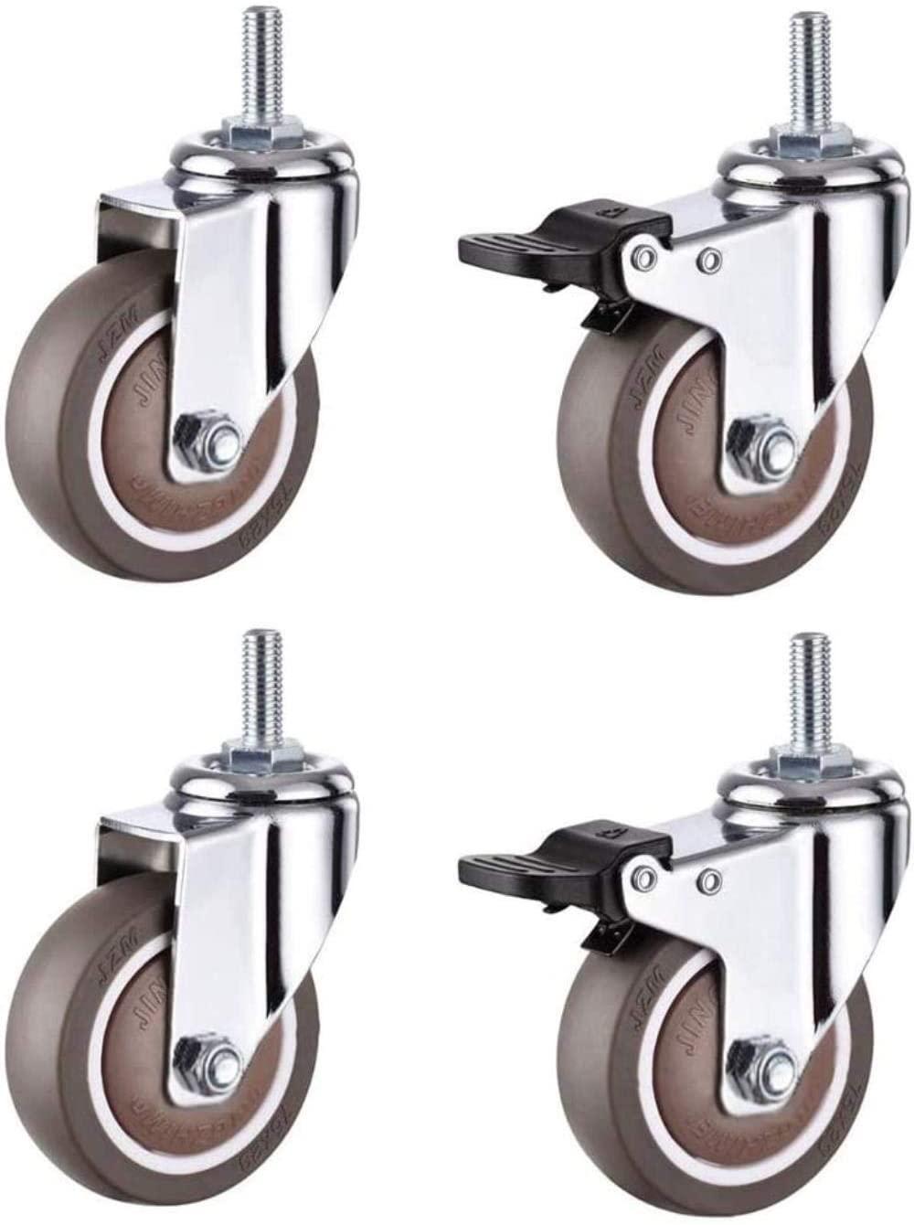Office Chair Caster Wheels FANYF X4 Castor Wheel, Furniture Casters, Rubber Caster, Swivel Caster-with Brake, Φ2 / 2.5 / 3in, Load 180kg,2 No Brake+2 Brake,2.5in(63mm)