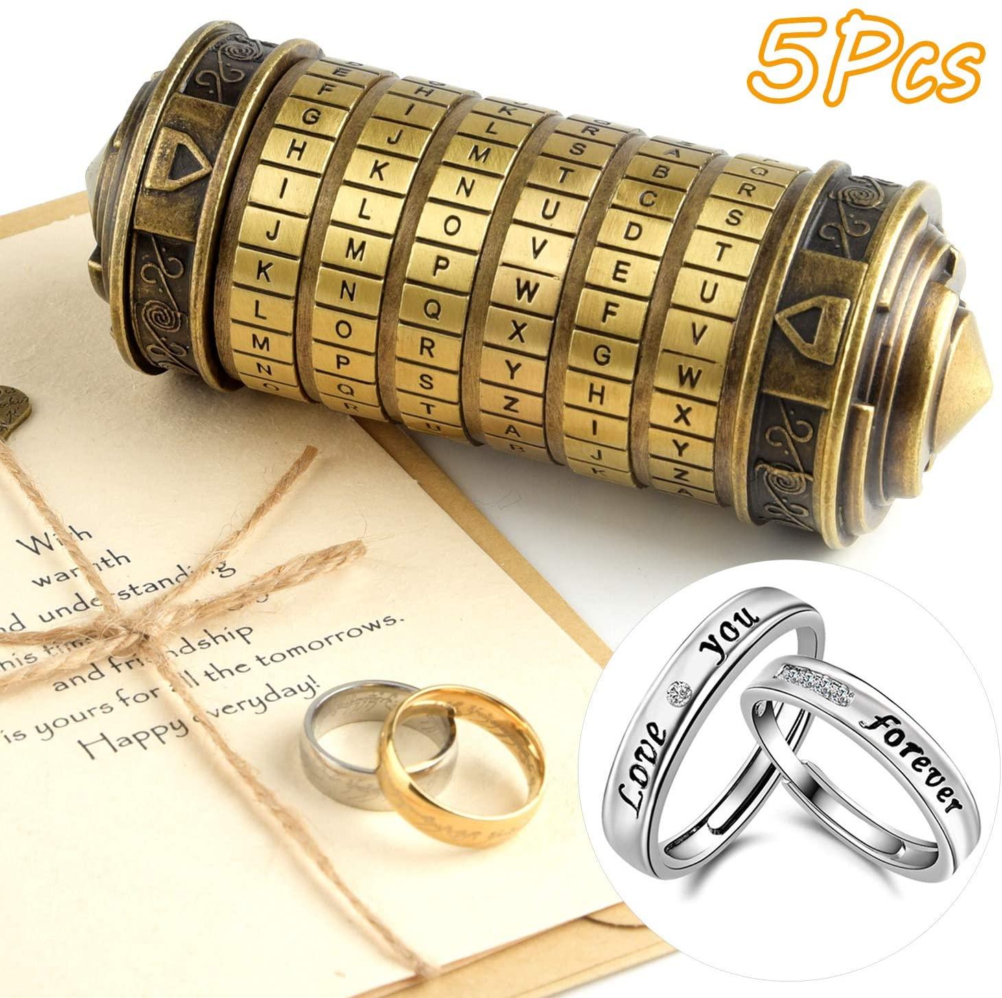 TUPARKA 5 Pieces Da Vinci Code Mini Cryptex Puzzle Boxes Valentine's Day Interesting Creative Romantic Secret Box Birthday Gifts for Women Her