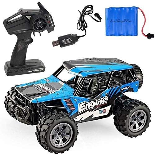 Xuess 2.4GHz 1:18 High-Speed Electric Off-Road Racing Model Spring Suspension Suitable for Any Terrain Children Gifts Kids Toy Educational Toys (Color : Blue)