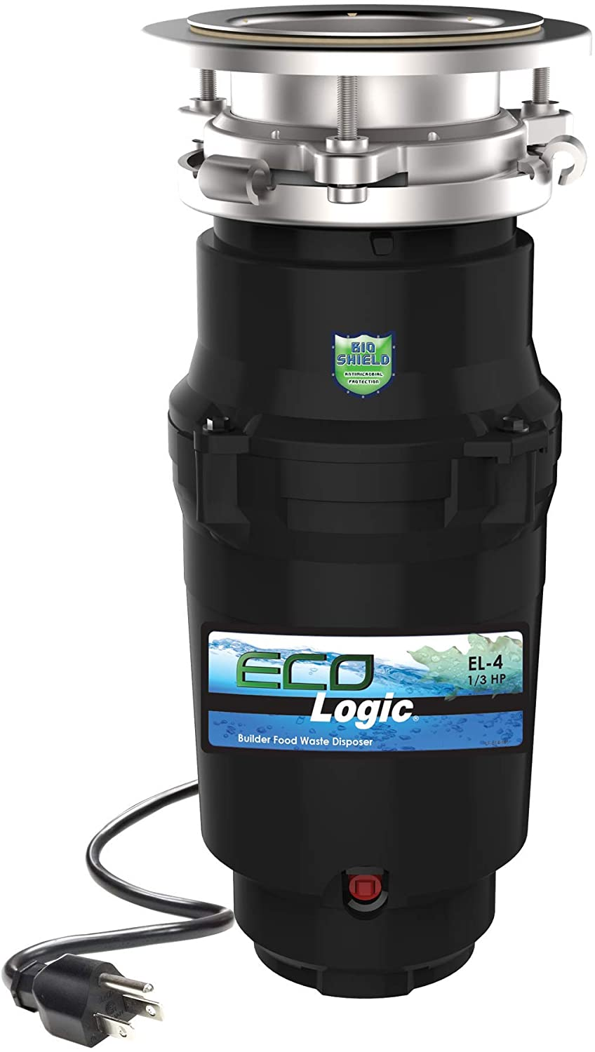Eco Logic 10-US-EL-4-3B Garbage Disposal with Removeable Splash Guard, Attached Power Cord and Standard 3-Bolt Mounting System, Continuous Feed, 1/3 Horsepower, Black