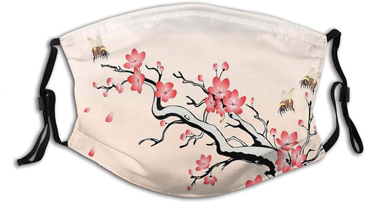 Flowering Cherry Branch with Flying Bees Summer Garden Windy Day Nature Artwork Dust Washable Reusable Filter and Reusable Mouth Warm Windproof Cotton Face