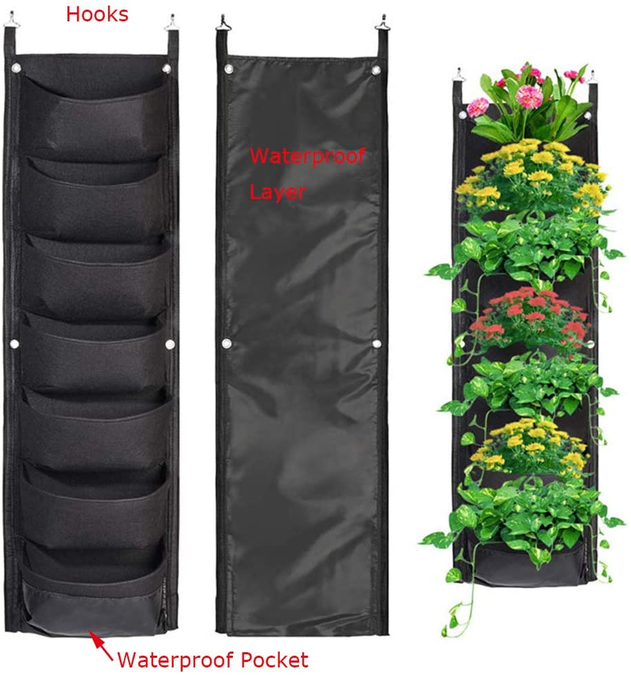 Mucalis Vertical Garden Wall Hanging Planter for Outdoor Indoor 7 Pockets Wall Mounted Hanging Wall Planter Waterproof Layer Deeper Fence Balcony Herb Flower Planter with Hook