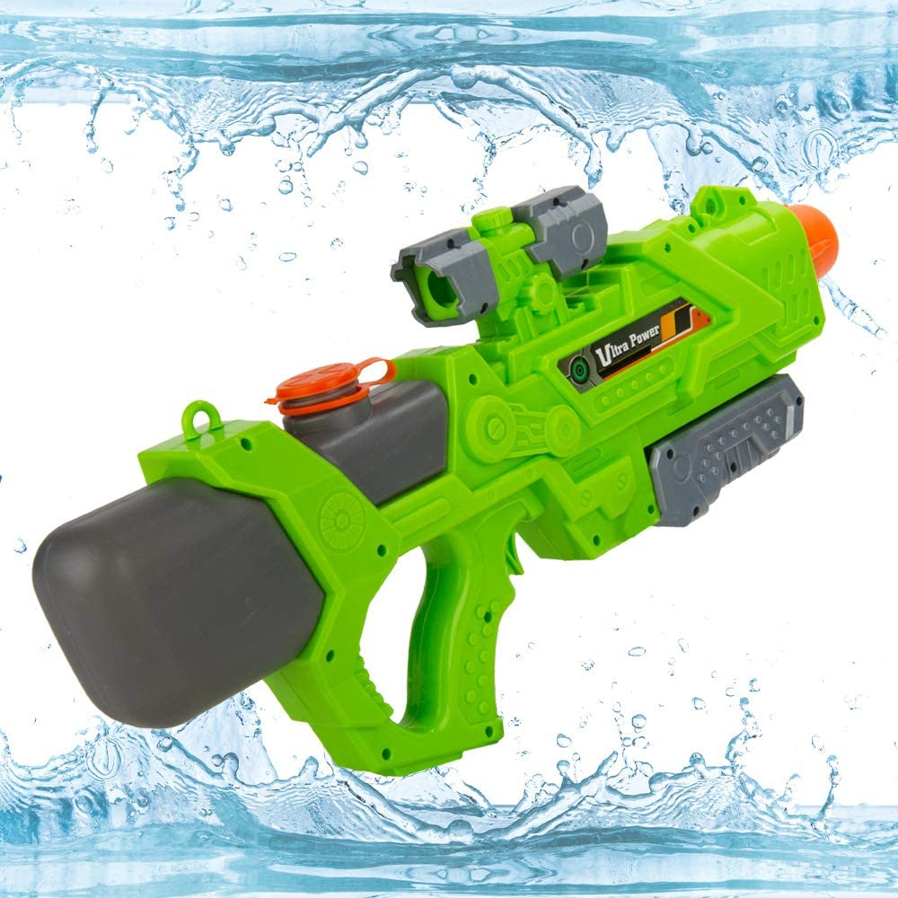 Pump Action Single Barrel Water Gun Toy (Green) Ultra Water Blaster with High Pressure 32 ft Range, 1200cc Large Capacity Great for the Beach, Lake, Swimming Pool, Party, Games, Outdoor Activities
