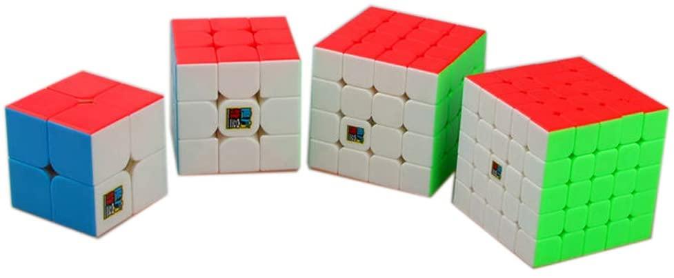 GoodPlay Pack of 4 MoYu MOFANGJIAOSHI Magic Cubes 2x2 3x3 4x4 5x5 Stickerless Speed Cubes Set, Puzzle Cubes Collection Set