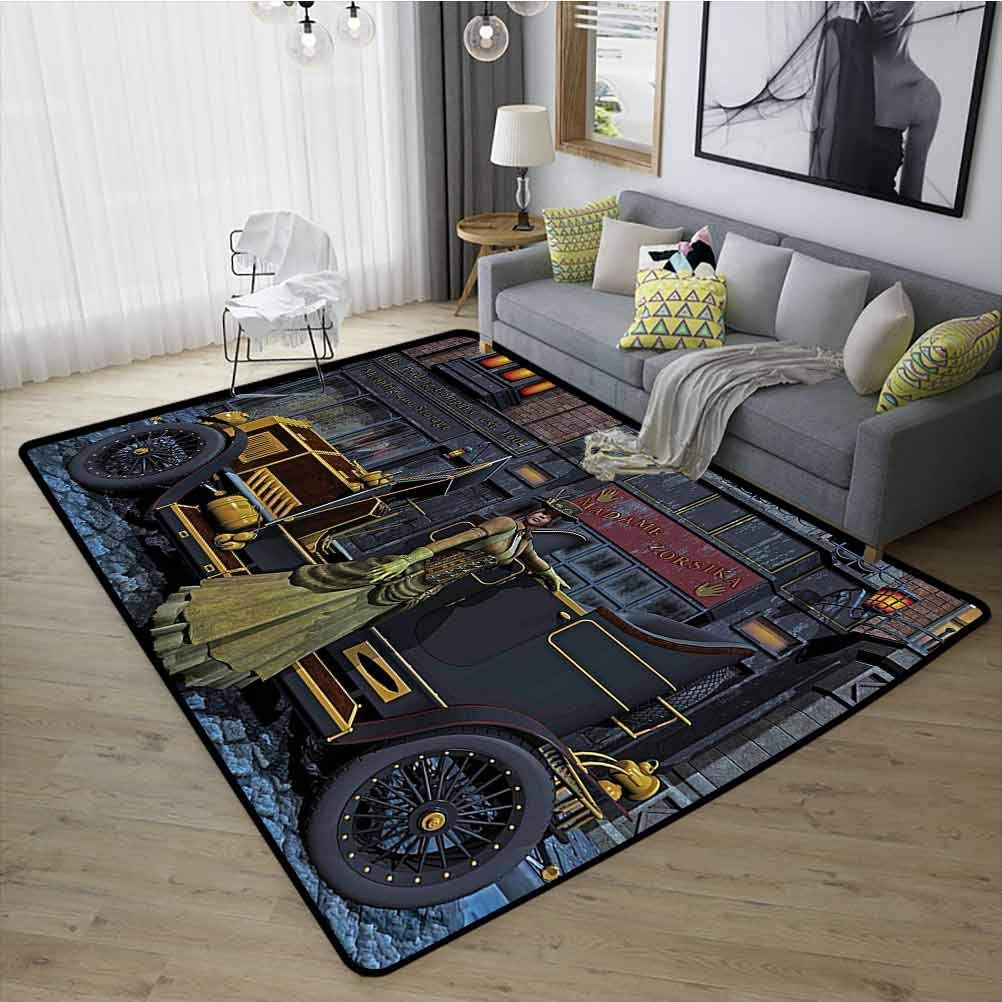 Victorian Decor Sofa Carpet, Fade and Wear Resistant Rubber Durable Non Slip for Living Room Kids Room, W23 x L35