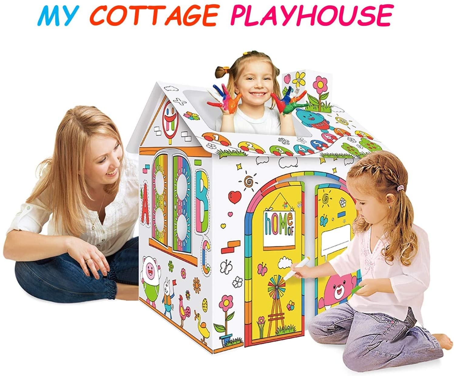 Jigamix Cardboard Playhouse for Kids Indoor Playhouse with Music & Light Cardboard to Color Stickers Activities for 3 4 5 Year olds and Up 30