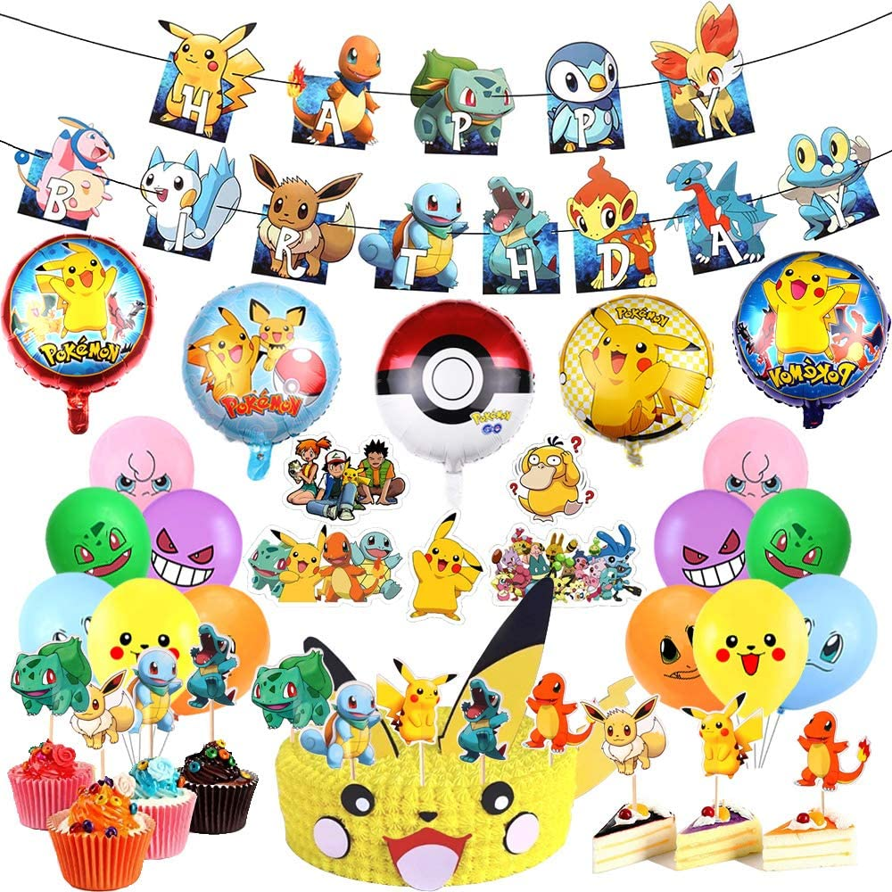 98 Pcs Pikachu Birthday Party Supplies, Pokemon Party Decorations Set Include Pikachu Birthday Banner, Birthday Cake Toppers, Balloons, Stickers Favor for Kids and Boys Birthday Party Decorations