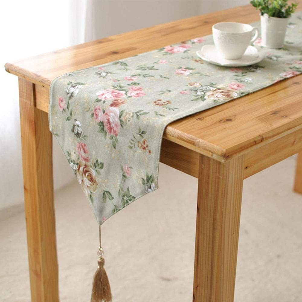 Washable table mat Floral Embroidery Cotton Table Runners With Tassels For Dinner Table Wedding Decor Heat-resistant anti-slip non-slip table mat (Color : Green, Size : 12''x79'')
