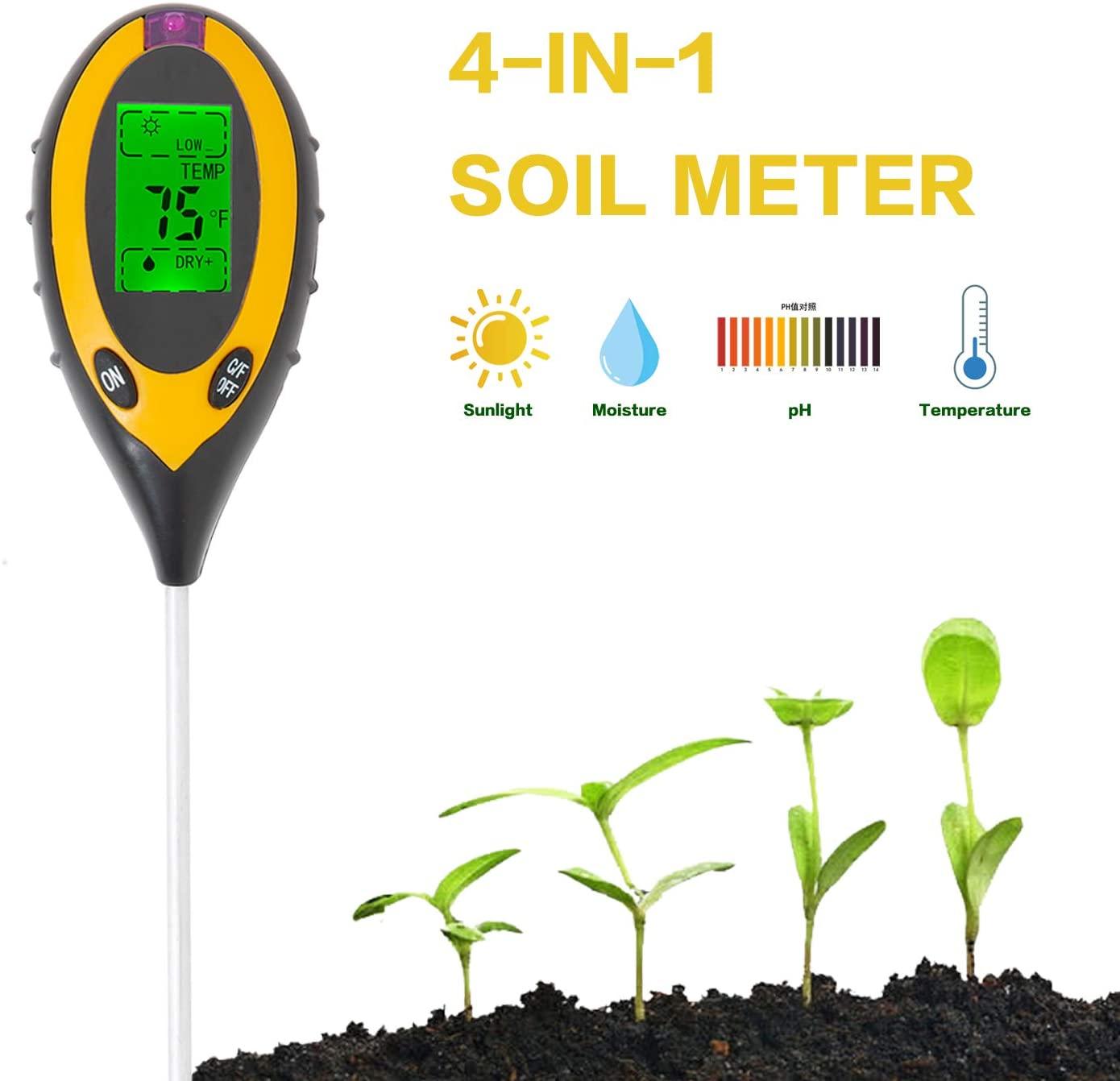 CDDG Soil pH Meter, Soil Moisture Meter, 4-in-1 Soil Temperature/Light/pH/Moisture Measuring Tool for Garden, Farm, Lawn, Indoor & Outdoor