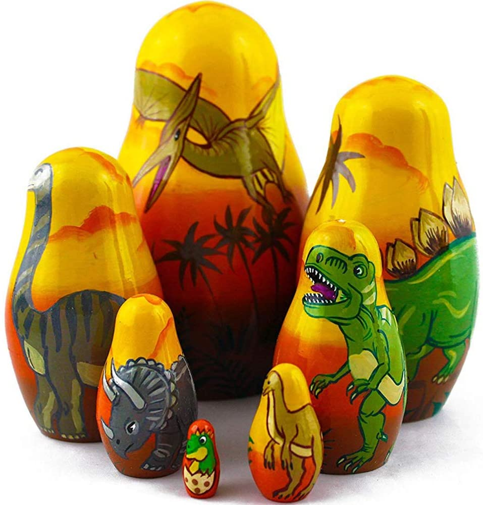 Dinosaur Nesting Dolls - Matryoshka Set 7 Dolls - Dinosaur Toy - Dinosaur Gifts - Dinosaur Decor