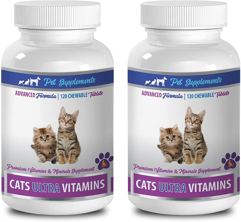 PET SUPPLEMENTS cat vitamins and supplements senior - CATS ULTRA VITAMINS - PREMIUM VITAMINS AND MINERALS - CHEWABLE - cat mineral supplement - 2 Bottle (240 Chews)