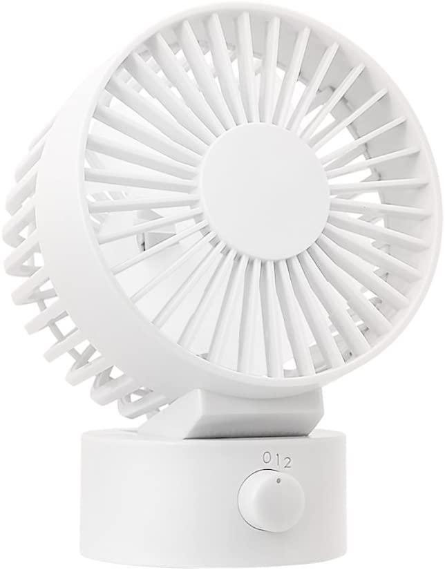 WitMoving Desk Fan Noiseless USB Fan with Adjustable Head, 2 Speeds, Dual Fan Blades Design, Mini Fan for Home Office Outdoor Travel (White)