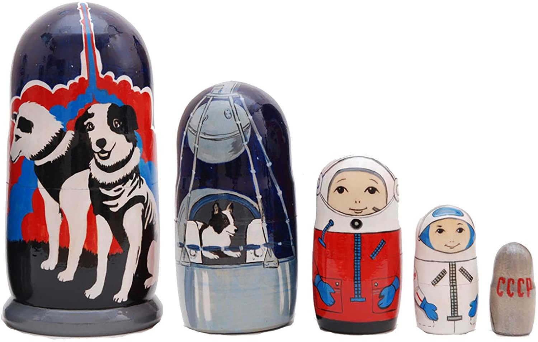HANDMADE Nesting Doll Dogs Cosmonauts for Kids Matryoshka 7