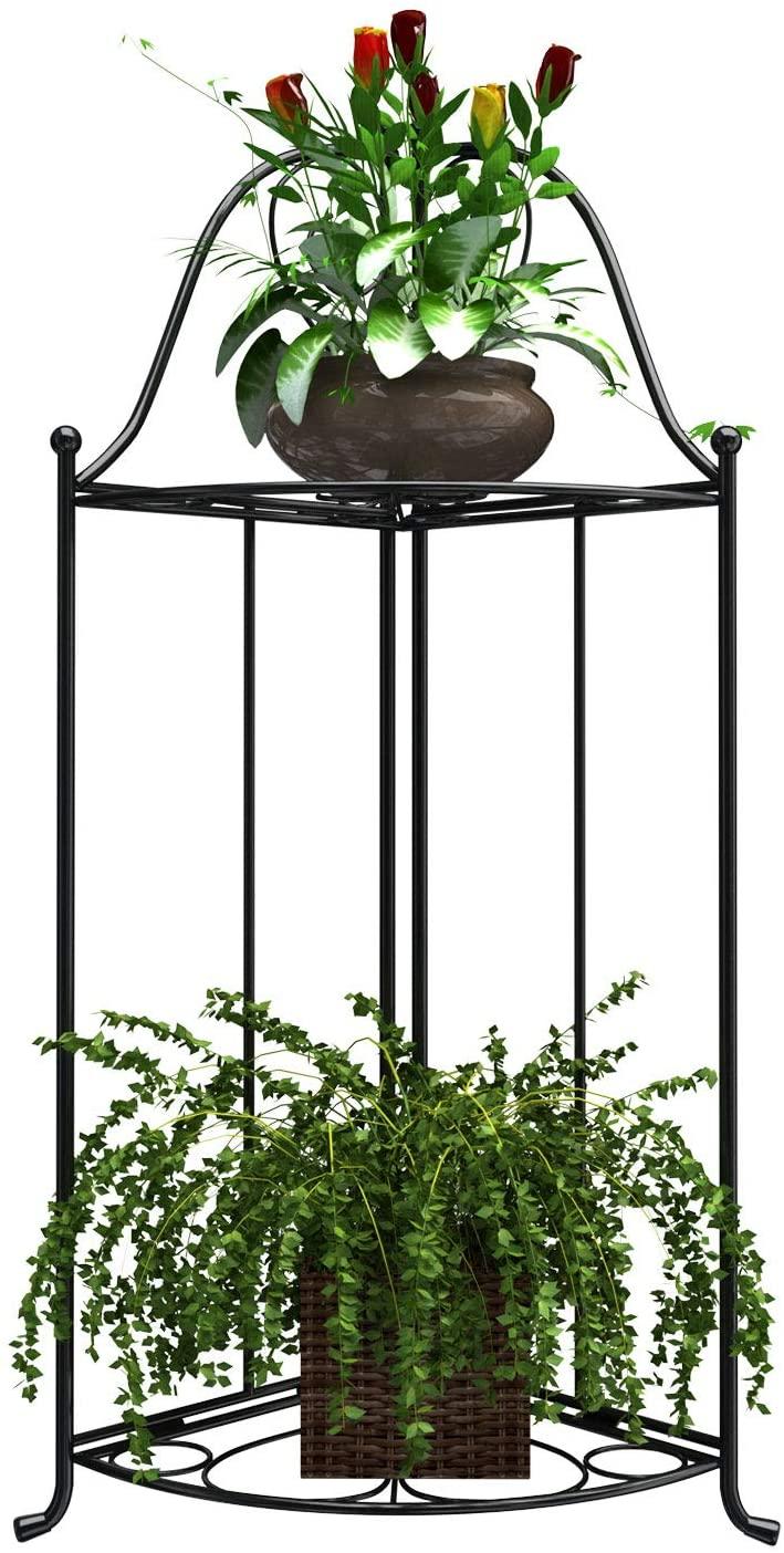 Mecor 2-Tier Metal Plant Stand, Indoor/Outdoor Flower Pot Holder Rack for Potted Plant, Suit for Indoor Outdoor Home Garden Patio Balcony Yard (Black)