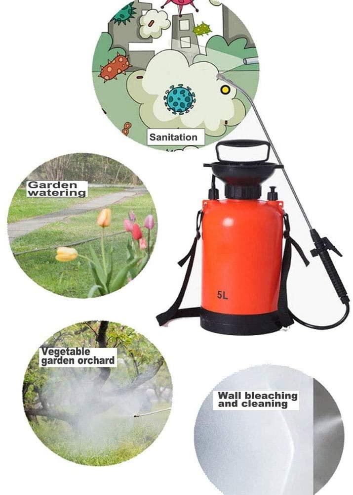 JYLT 5L Lawn and Garden Pump Pressure Sprayer with Pressure Relief Valve, Adjustable Shoulder Strap