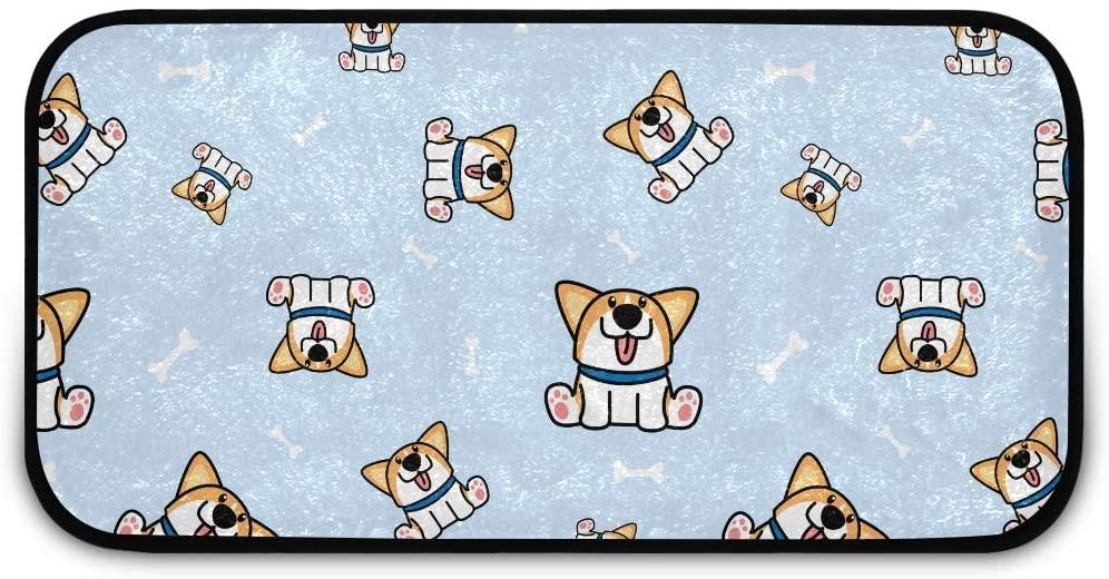 Rectangle Shaggy Rug Doormat for Kids Cute Corgi Dog Cartoon Pattern Kitchen Anti-Slip Rug Rectangle Carpet Play Mat